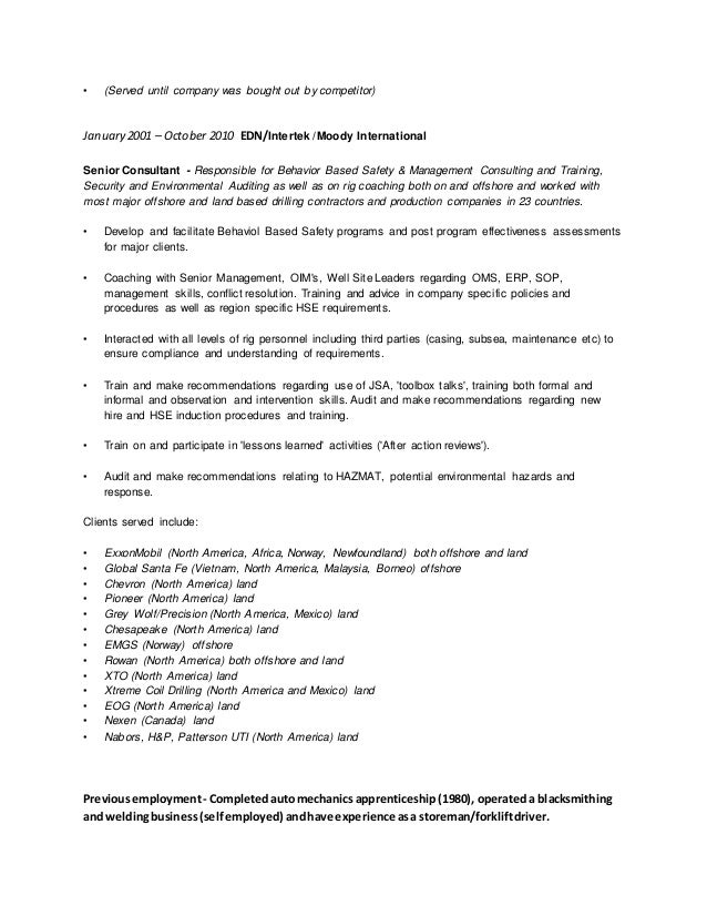 Confidential Resume of Craig White Oct 2015