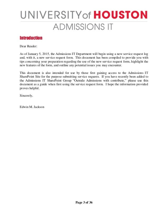 Introduction to the New Admissions IT Service Request Form – Service Request Form