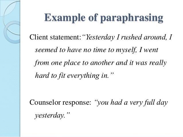Paraphrasing a paragraph listening skills