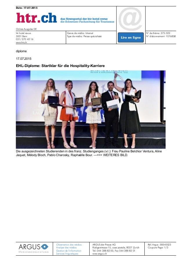 Date: 17.07.2015 Online-Ausgabe DE htr hotel revue 3001 Bern 031/ 370 42 16 www.htr.ch Genre de média: Internet N° de thèm...