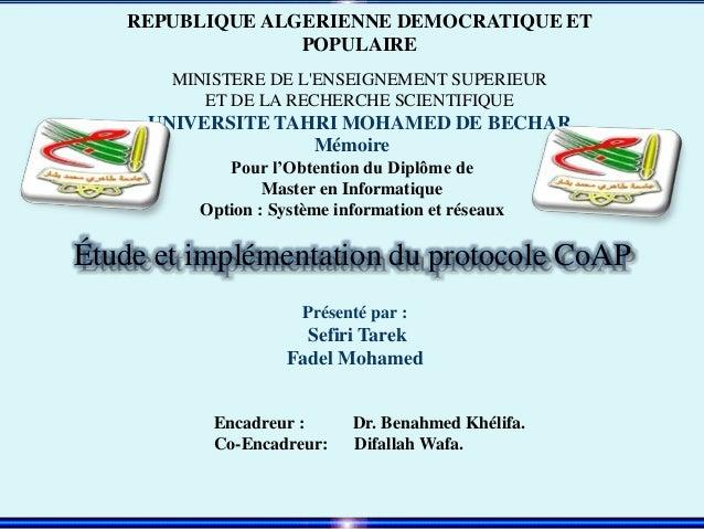 REPUBLIQUE ALGERIENNE DEMOCRATIQUE ET POPULAIRE MINISTERE DE L'ENSEIGNEMENT SUPERIEUR ET DE LA RECHERCHE SCIENTIFIQUE UNIV...