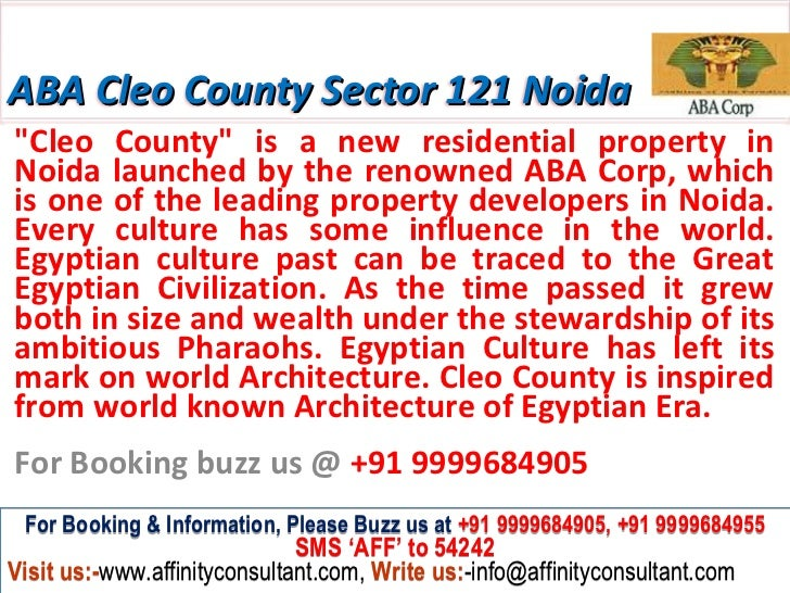 "ABA Cleo County Sector 121 Noida""Cleo County"" is a new residential property inNoida launched by the renowned ABA Corp, whi..."