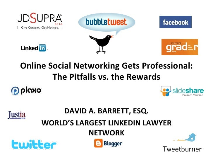 Online Social Networking Gets Professional: The Pitfalls vs. the Rewards DAVID A. BARRETT, ESQ. WORLD'S LARGEST LINKEDIN L...