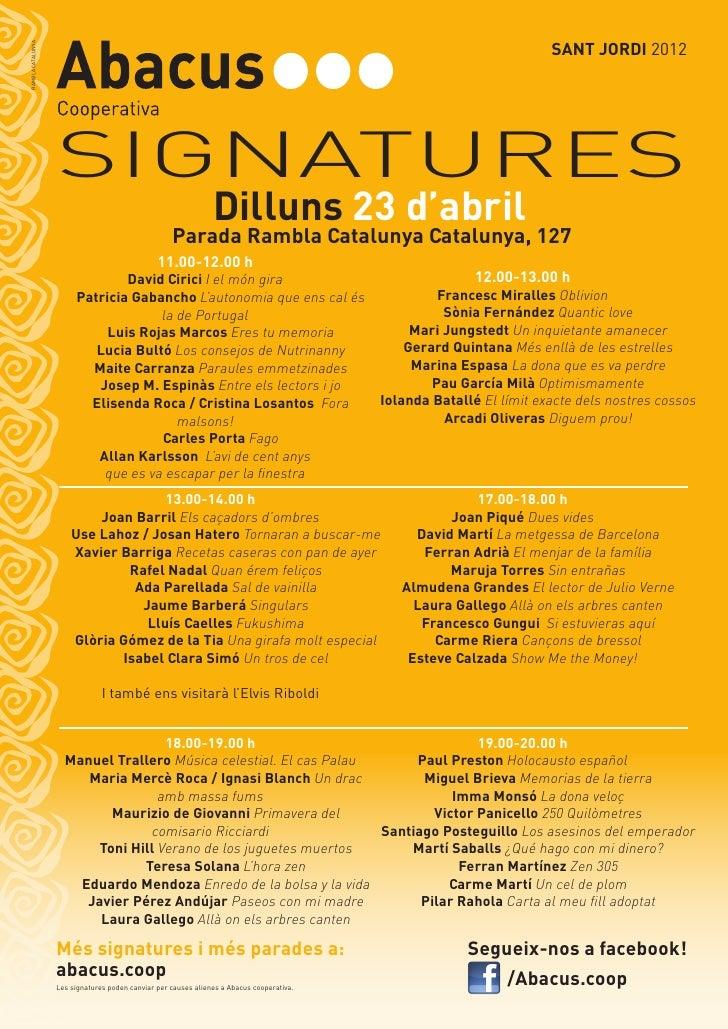 SANT JORDI 2012RAMBLA CATALUNYA                               SIGNATURES                                                  ...
