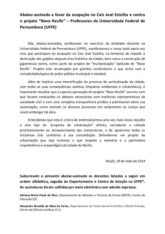 """Abaixo-assinado a favor da ocupação no Cais José Estelita e contra o projeto """"Novo Recife"""" – Professores da Universidade F..."""