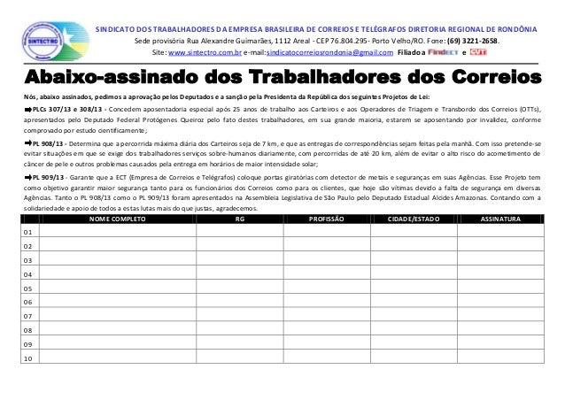 SINDICATO DOS TRABALHADORES DA EMPRESA BRASILEIRA DE CORREIOS E TELÉGRAFOS DIRETORIA REGIONAL DE RONDÔNIA Sede provisória ...