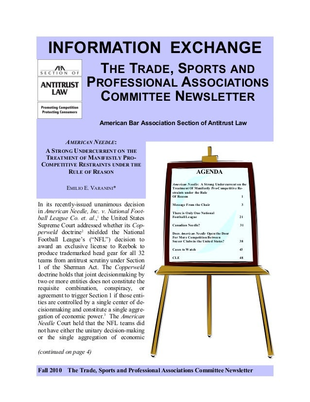 Fall 2010 The Trade, Sports and Professional Associations Committee Newsletter INFORMATION EXCHANGE THE TRADE, SPORTS AND ...