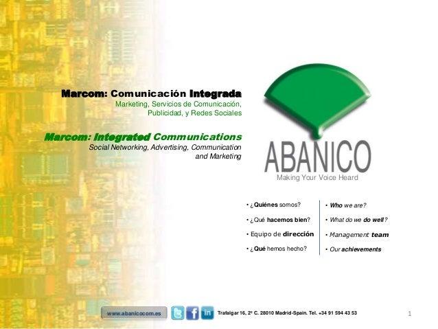Marcom: Comunicación Integrada               Marketing, Servicios de Comunicación,                        Publicidad, y Re...