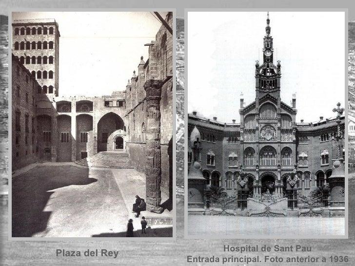 Plaza del Rey Hospital de Sant Pau Entrada principal. Foto anterior a 1936