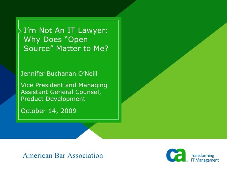 Jennifer Buchanan O'Neill Vice President and Managing Assistant General Counsel, Product Development I'm Not An IT Lawyer:...