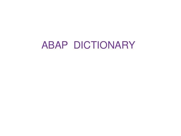 ABAP DICTIONARY