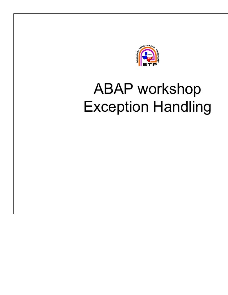 ABAP workshopException Handling