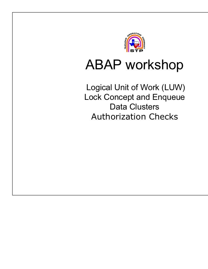 ABAP workshopLogical Unit of Work (LUW)Lock Concept and Enqueue      Data Clusters  Authorization Checks
