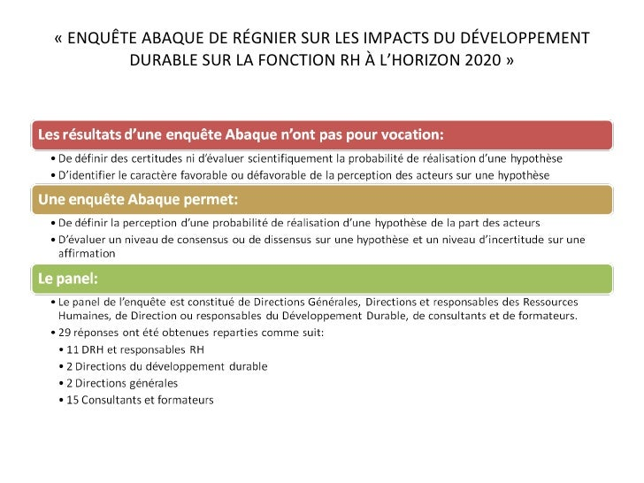 «ENQUÊTE ABAQUE DE RÉGNIER SUR LES IMPACTS DU DÉVELOPPEMENT DURABLE SUR LA FONCTION RH À L'HORIZON 2020»