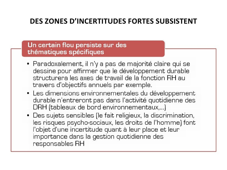 DES ZONES D'INCERTITUDES FORTES SUBSISTENT