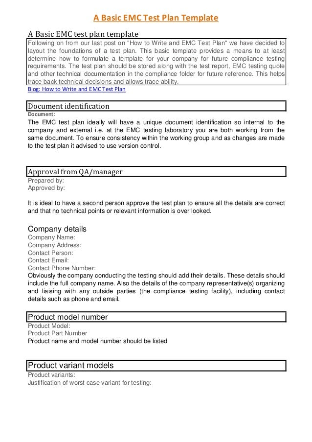 A Basic EMC Test Plan Template A Basic EMC Test Plan Template Following On  From Our ...