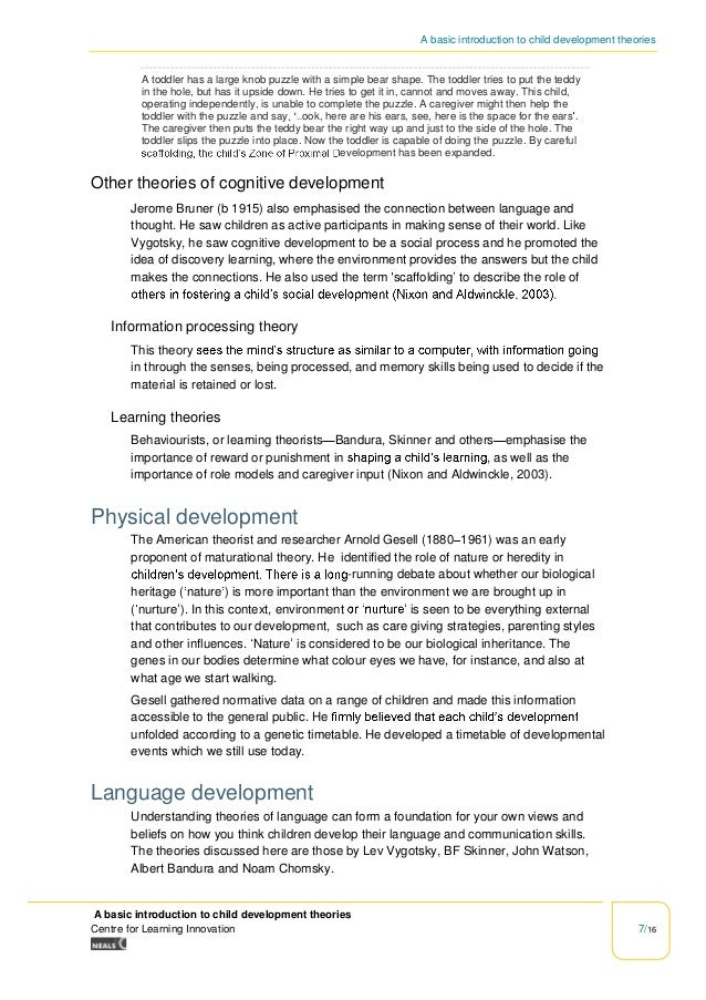 an introduction to developmental theories Introduction the most important development in early childhood social cognition  is the development of theory of mind1,2 its development during the first five.