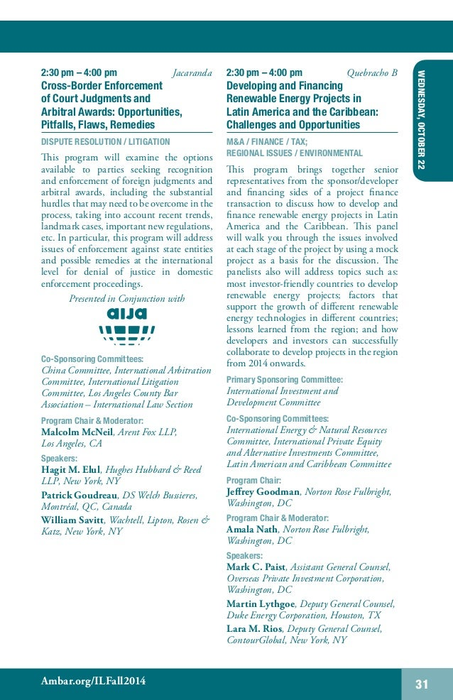ABA Section of International Law Fall 2014 Meeting (Buenos Aires, Arg…