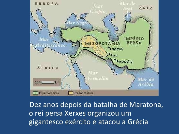 Dez anos depois da batalha de Maratona, o rei persa Xerxes organizou um gigantesco exército e atacou a Grécia<br />