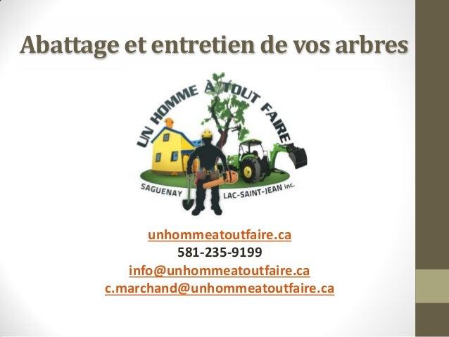 Abattage et entretien de vos arbres  unhommeatoutfaire.ca 581-235-9199 info@unhommeatoutfaire.ca c.marchand@unhommeatoutfa...