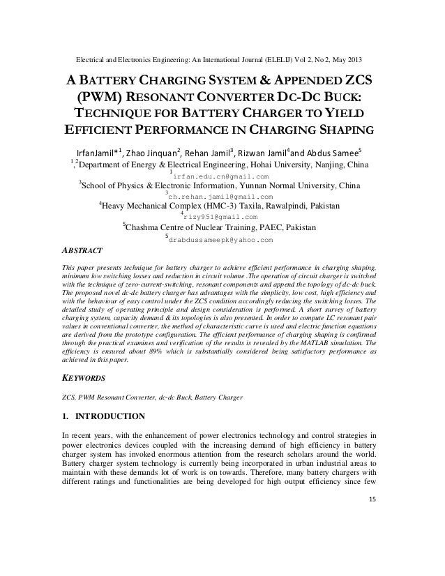 Electrical and Electronics Engineering: An International Journal (ELELIJ) Vol 2, No 2, May 2013 15 A BATTERY CHARGING SYST...