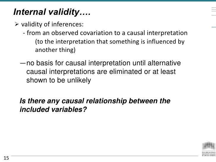Internal validity….      validity of inferences:        - from an observed covariation to a causal interpretation        ...