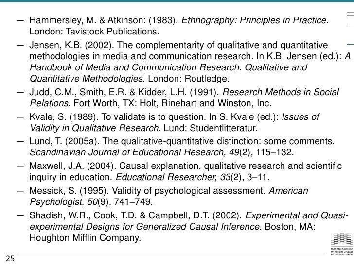 — Hammersley, M. & Atkinson: (1983). Ethnography: Principles in Practice.       London: Tavistock Publications.     — Jens...