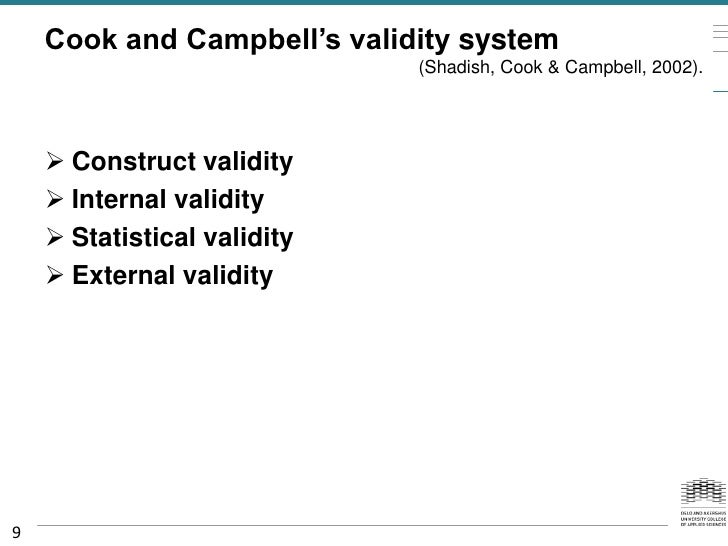 Cook and Campbell's validity system                             (Shadish, Cook & Campbell, 2002).     Construct validity ...