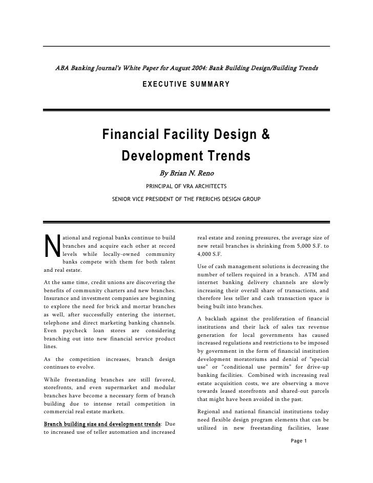 ABA Banking Journal's White Paper for August 2004: Bank Building Design/Building Trends                                   ...