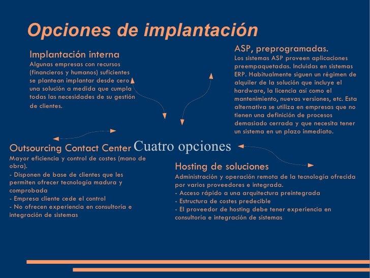 Opciones de implantación Cuatro opciones  Implantación interna Algunas empresas con recursos (financieros y humanos) sufic...