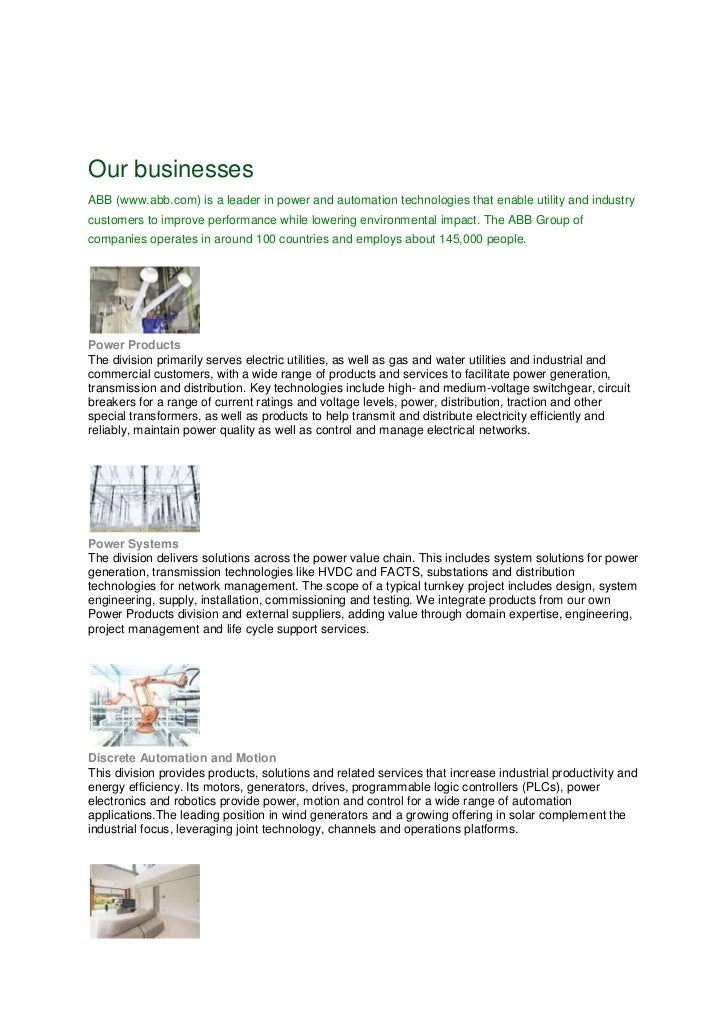 The abb pbs joint venture in operation