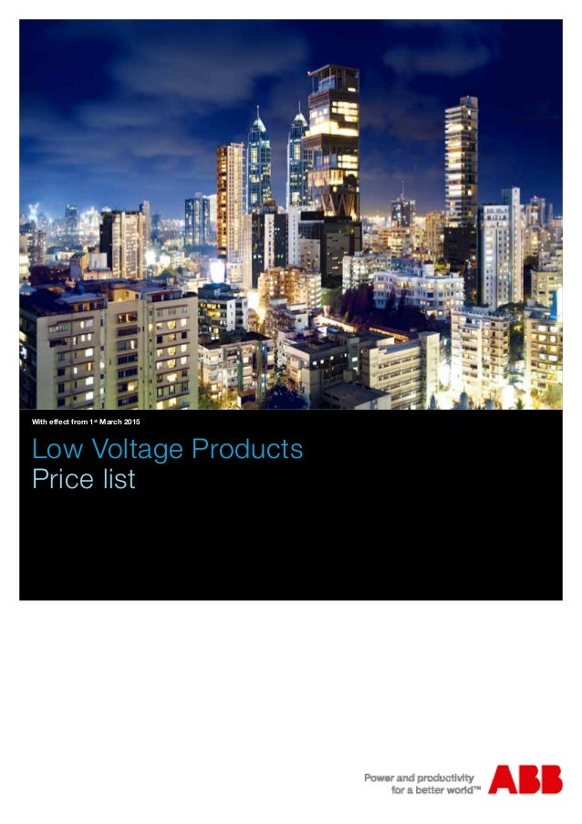With effect from 1st March 2015 Low Voltage Products Price list