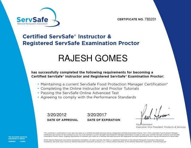 certificate of servsafe instructor & proctor