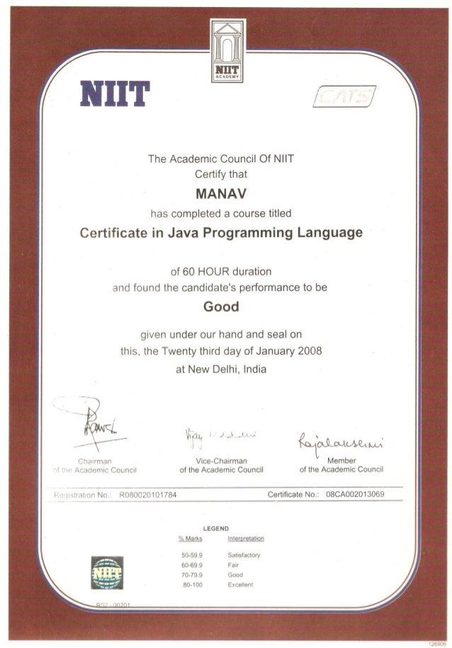 NIIT_Java_Module_Test_Certificate