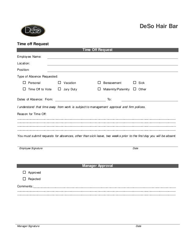 Deso Time Off Request Form