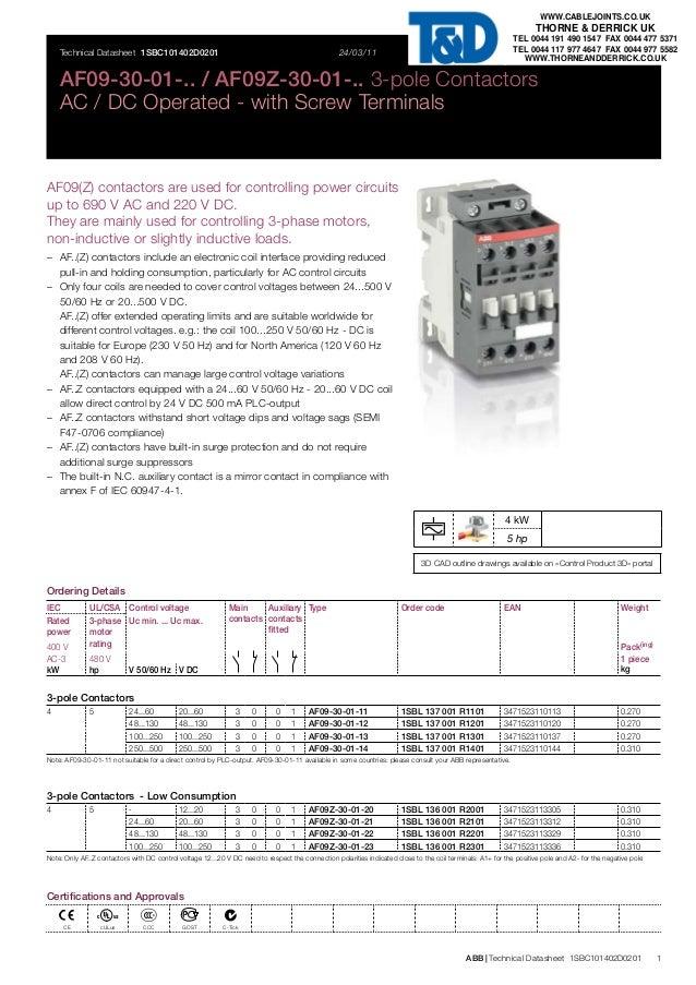 abb contactors 3 pole contactors abb af09 af09z  ac dc