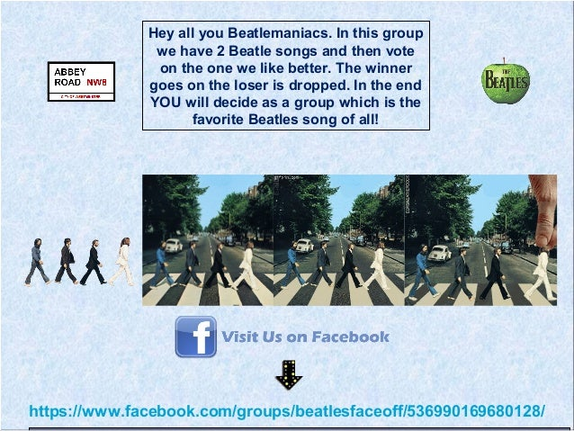 https://www.facebook.com/groups/beatlesfaceoff/536990169680128/Hey all you Beatlemaniacs. In this groupwe have 2 Beatle so...