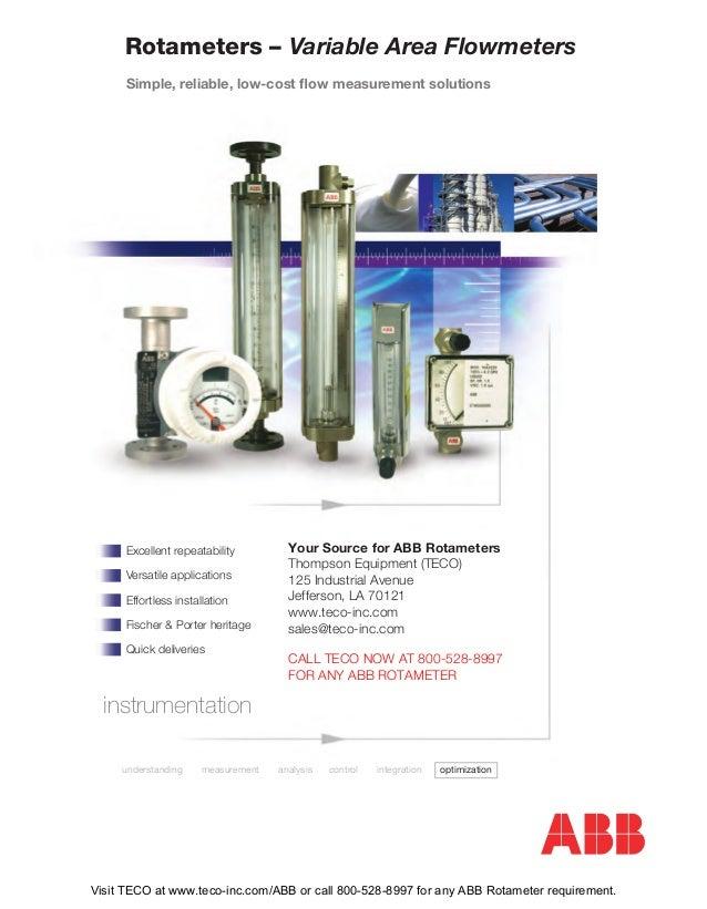 Rotameters – Variable Area Flowmeters Excellent repeatability Versatile applications Effortless installation Fischer & Por...