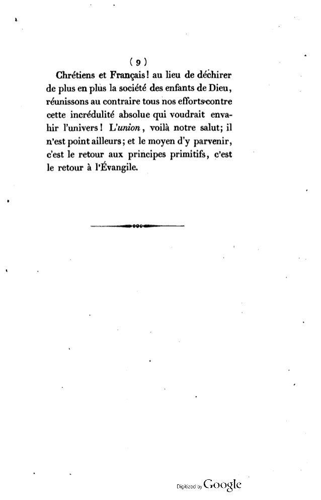 (9) Chrétiens et Français ! au lieu de déchirera de p lusen plus la société des enfants de Dieu , réunissons au contraire ...
