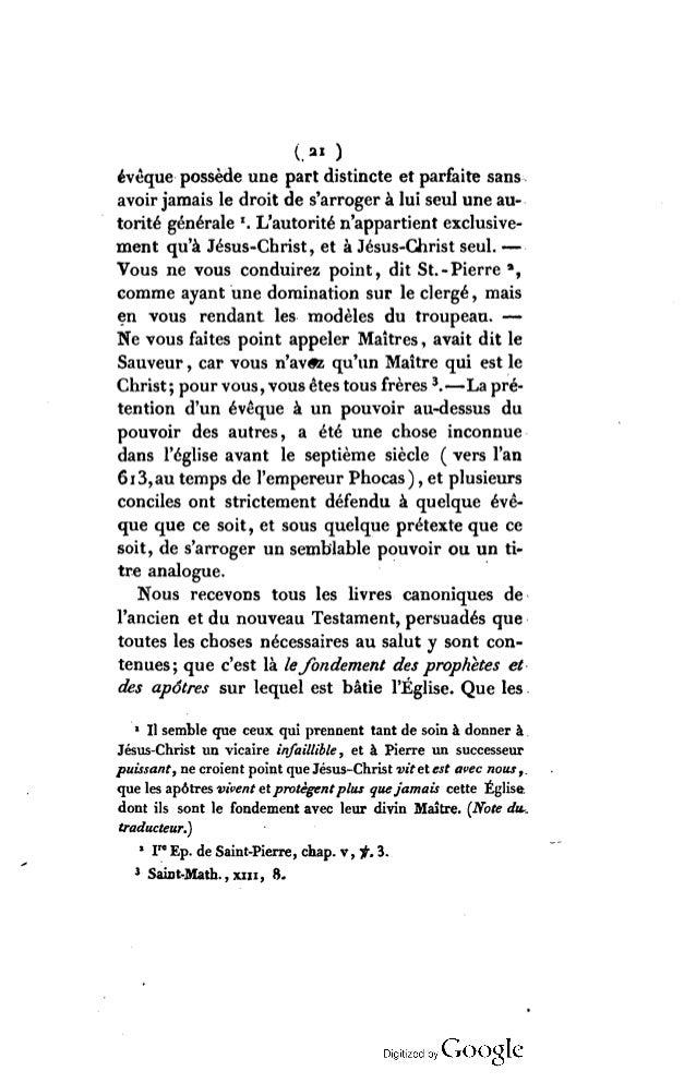 ( « > Écritures seules1 sont infaillibles; que par elles seules toute doctrine doit être prouvée ; et que les lois et les ...