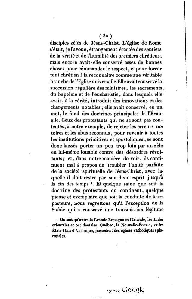 (3i ) des p ouvoirs , ils demeurent séparés de l'église primitive, et d'une catholicité pure, en un point auquel il serait...
