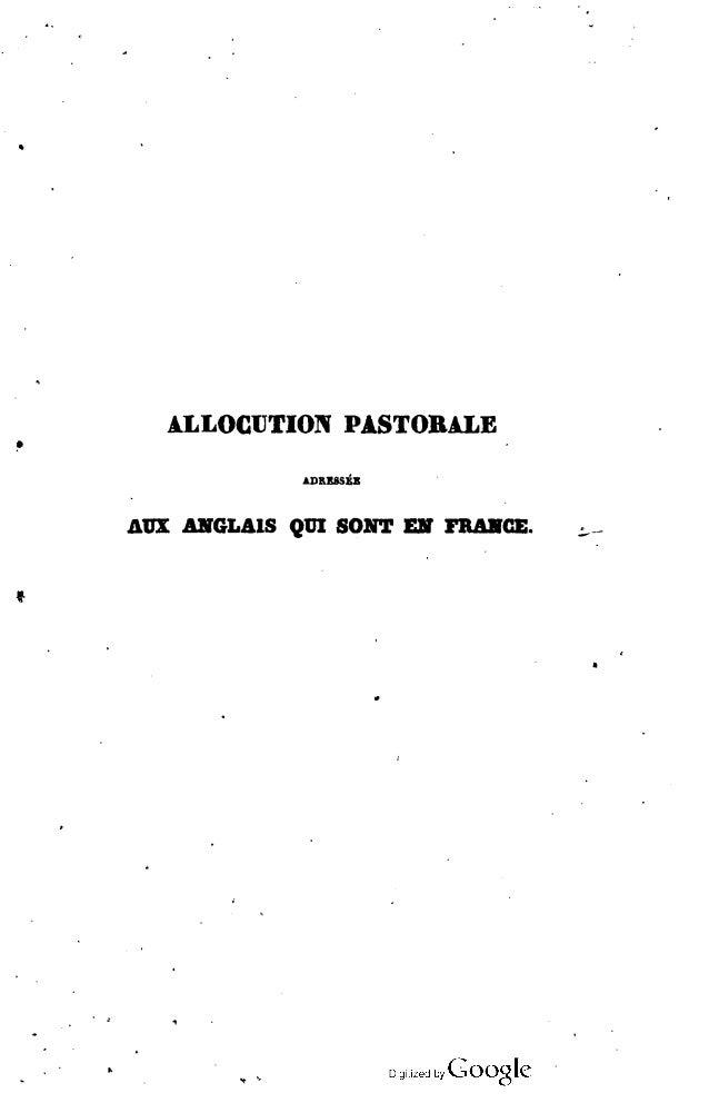 ALLOCUTION PASTORALE ADRESSEE AUX ANGLAIS QUI SONT EN FRANCE.