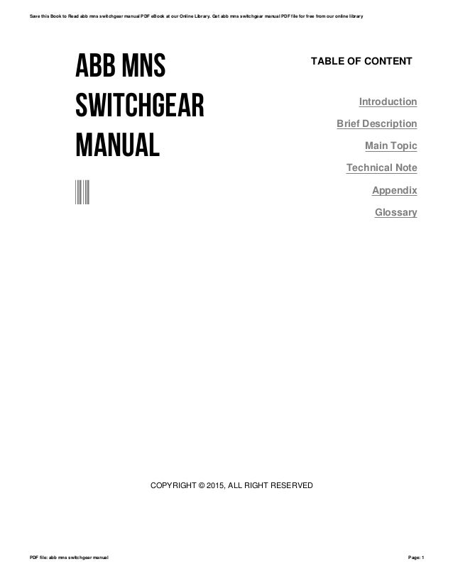 Abb mns switchgear manual