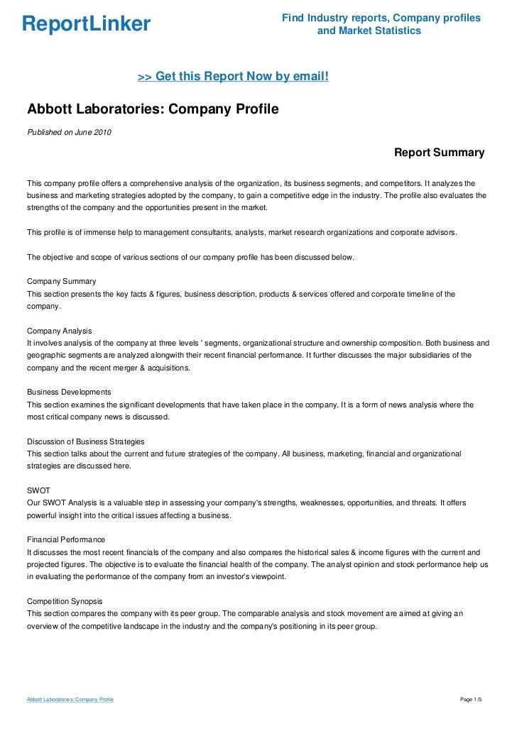 Abbott Laboratories Company Profile