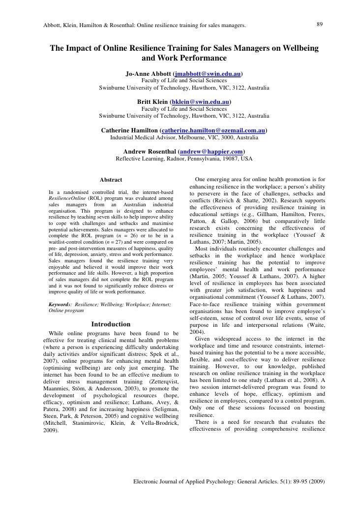 Abbott, Klein, Hamilton & Rosenthal: Online resilience training for sales managers.                                  89   ...