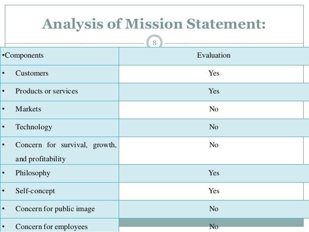mission statement evaluation matrix