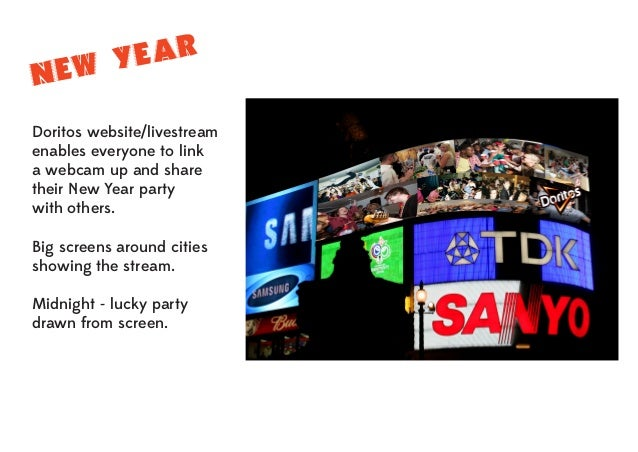 EAR EW Y N Doritos website/livestream enables everyone to link a webcam up and share their New Year party with others. Big...