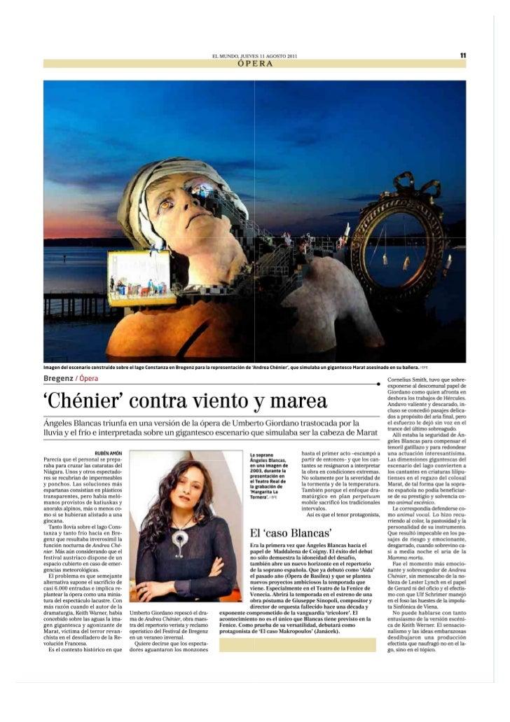 Angeles Blancas: Andrea Chenier en Bregenz (El Mundo)