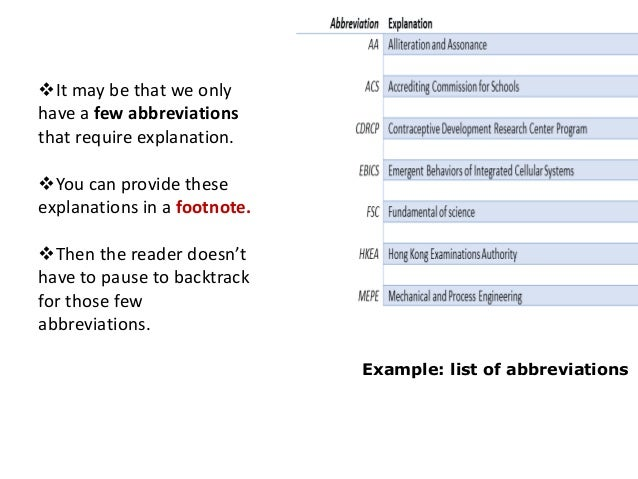 where to place abbreviations in thesis A right place to introduce your research work to the  manuscript (thesis/edited book/seminar  list of definitions& abbreviations book in chapter.