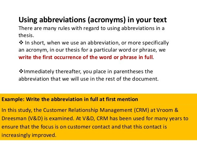 where to place abbreviations in thesis